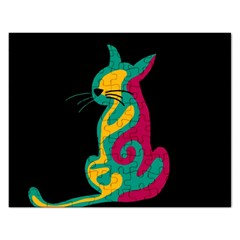 Colorful abstract cat  Rectangular Jigsaw Puzzl