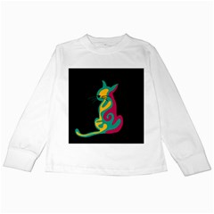 Colorful abstract cat  Kids Long Sleeve T-Shirts