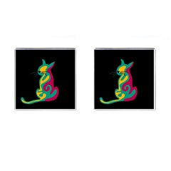 Colorful abstract cat  Cufflinks (Square)