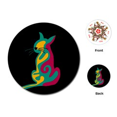 Colorful abstract cat  Playing Cards (Round)