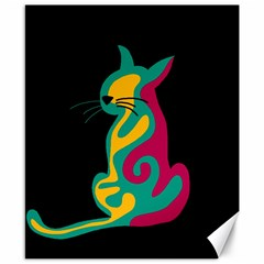 Colorful abstract cat  Canvas 8  x 10