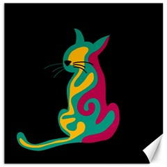 Colorful abstract cat  Canvas 20  x 20