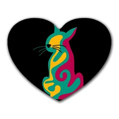 Colorful abstract cat  Heart Mousepads
