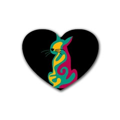 Colorful abstract cat  Heart Coaster (4 pack)