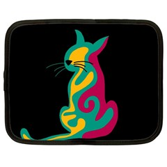 Colorful abstract cat  Netbook Case (Large)