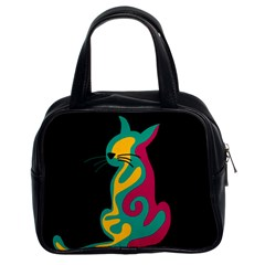 Colorful abstract cat  Classic Handbags (2 Sides)