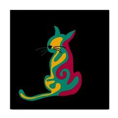 Colorful abstract cat  Face Towel