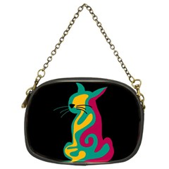 Colorful abstract cat  Chain Purses (Two Sides)