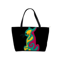 Colorful abstract cat  Shoulder Handbags