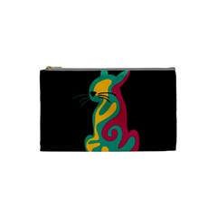 Colorful abstract cat  Cosmetic Bag (Small)