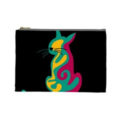 Colorful abstract cat  Cosmetic Bag (Large)