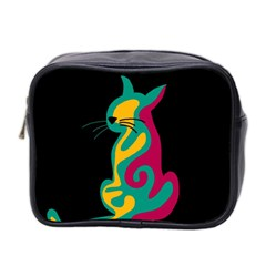 Colorful abstract cat  Mini Toiletries Bag 2-Side