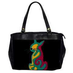Colorful abstract cat  Office Handbags