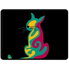 Colorful abstract cat  Fleece Blanket (Large)