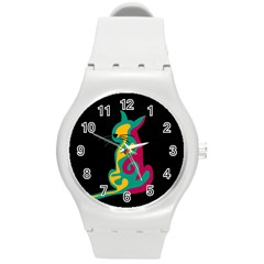 Colorful abstract cat  Round Plastic Sport Watch (M)