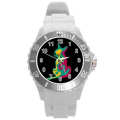 Colorful abstract cat  Round Plastic Sport Watch (L)