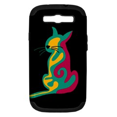 Colorful abstract cat  Samsung Galaxy S III Hardshell Case (PC+Silicone)