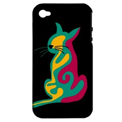 Colorful abstract cat  Apple iPhone 4/4S Hardshell Case (PC+Silicone)