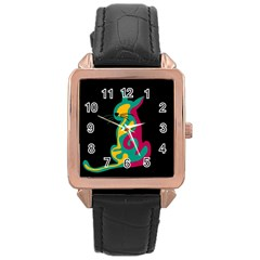 Colorful abstract cat  Rose Gold Leather Watch