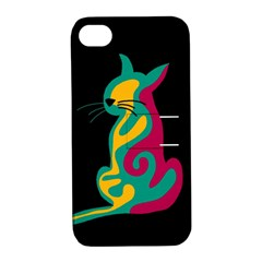Colorful abstract cat  Apple iPhone 4/4S Hardshell Case with Stand