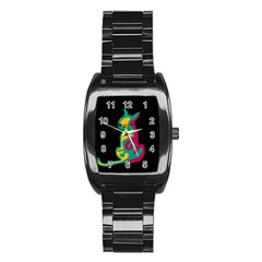 Colorful abstract cat  Stainless Steel Barrel Watch