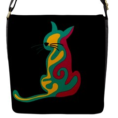 Colorful abstract cat  Flap Messenger Bag (S)