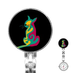 Colorful abstract cat  Stainless Steel Nurses Watch