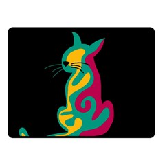 Colorful abstract cat  Double Sided Fleece Blanket (Small)