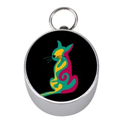 Colorful abstract cat  Mini Silver Compasses
