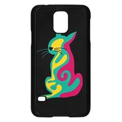 Colorful abstract cat  Samsung Galaxy S5 Case (Black)