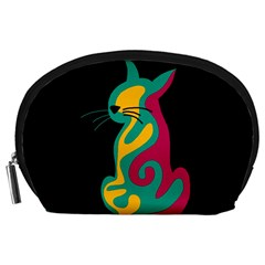 Colorful abstract cat  Accessory Pouches (Large)