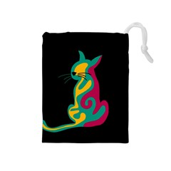 Colorful abstract cat  Drawstring Pouches (Medium)