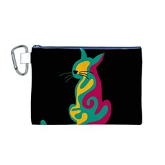 Colorful abstract cat  Canvas Cosmetic Bag (M)