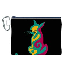 Colorful abstract cat  Canvas Cosmetic Bag (L)