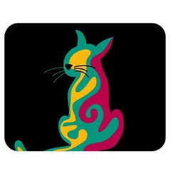 Colorful abstract cat  Double Sided Flano Blanket (Medium)