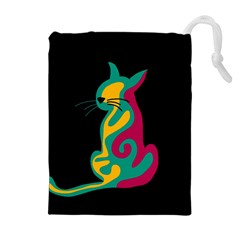 Colorful abstract cat  Drawstring Pouches (Extra Large)