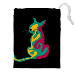 Colorful abstract cat  Drawstring Pouches (XXL)