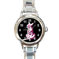 Pink abstract cat Round Italian Charm Watch