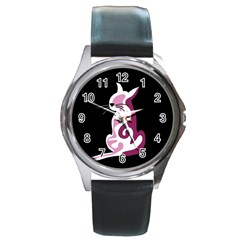Pink abstract cat Round Metal Watch