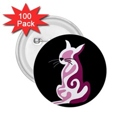 Pink abstract cat 2.25  Buttons (100 pack)