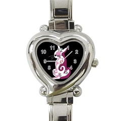 Pink abstract cat Heart Italian Charm Watch