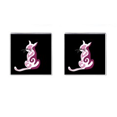 Pink abstract cat Cufflinks (Square)