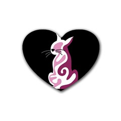 Pink abstract cat Rubber Coaster (Heart)