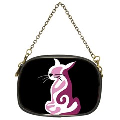 Pink abstract cat Chain Purses (Two Sides)