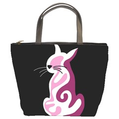 Pink abstract cat Bucket Bags