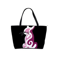 Pink abstract cat Shoulder Handbags