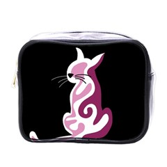 Pink abstract cat Mini Toiletries Bags