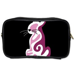 Pink abstract cat Toiletries Bags 2-Side