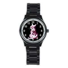 Pink abstract cat Stainless Steel Round Watch