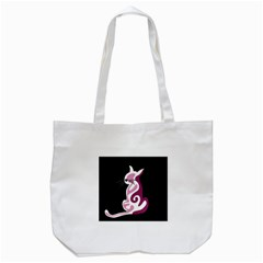 Pink abstract cat Tote Bag (White)